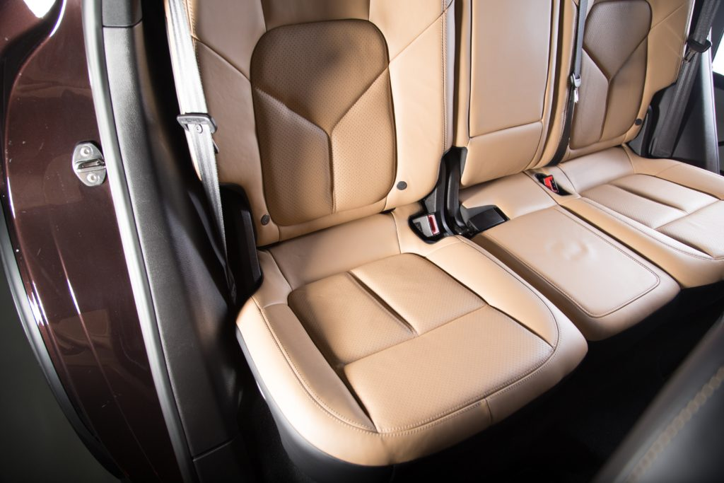 Beige interior decoration of a luxurious car